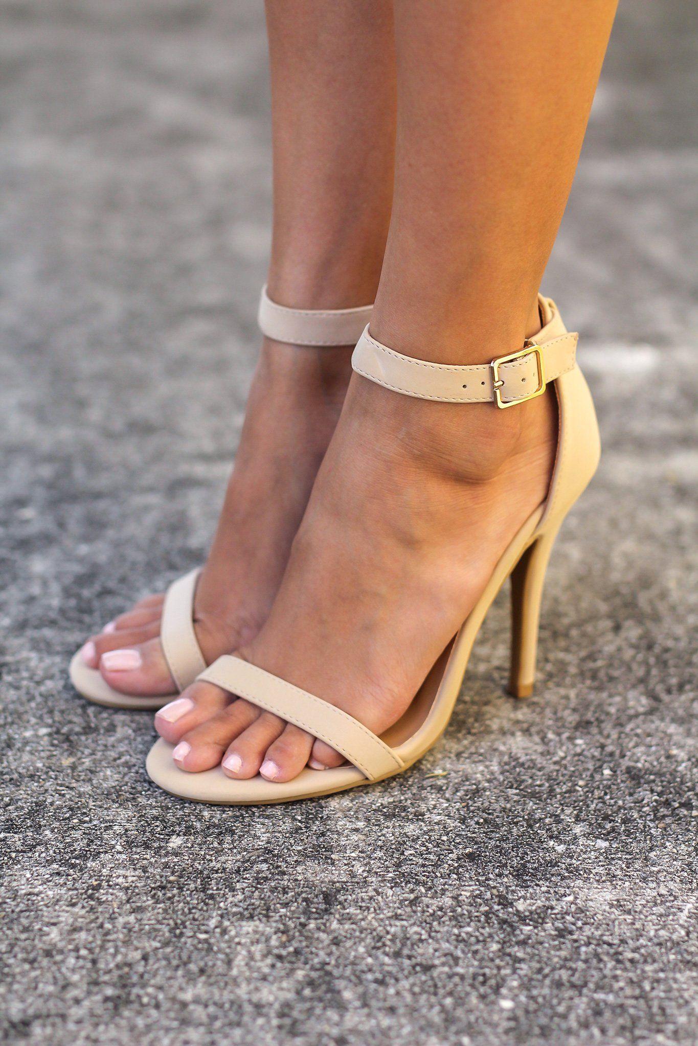 35681edca Nude Single Strap Heels