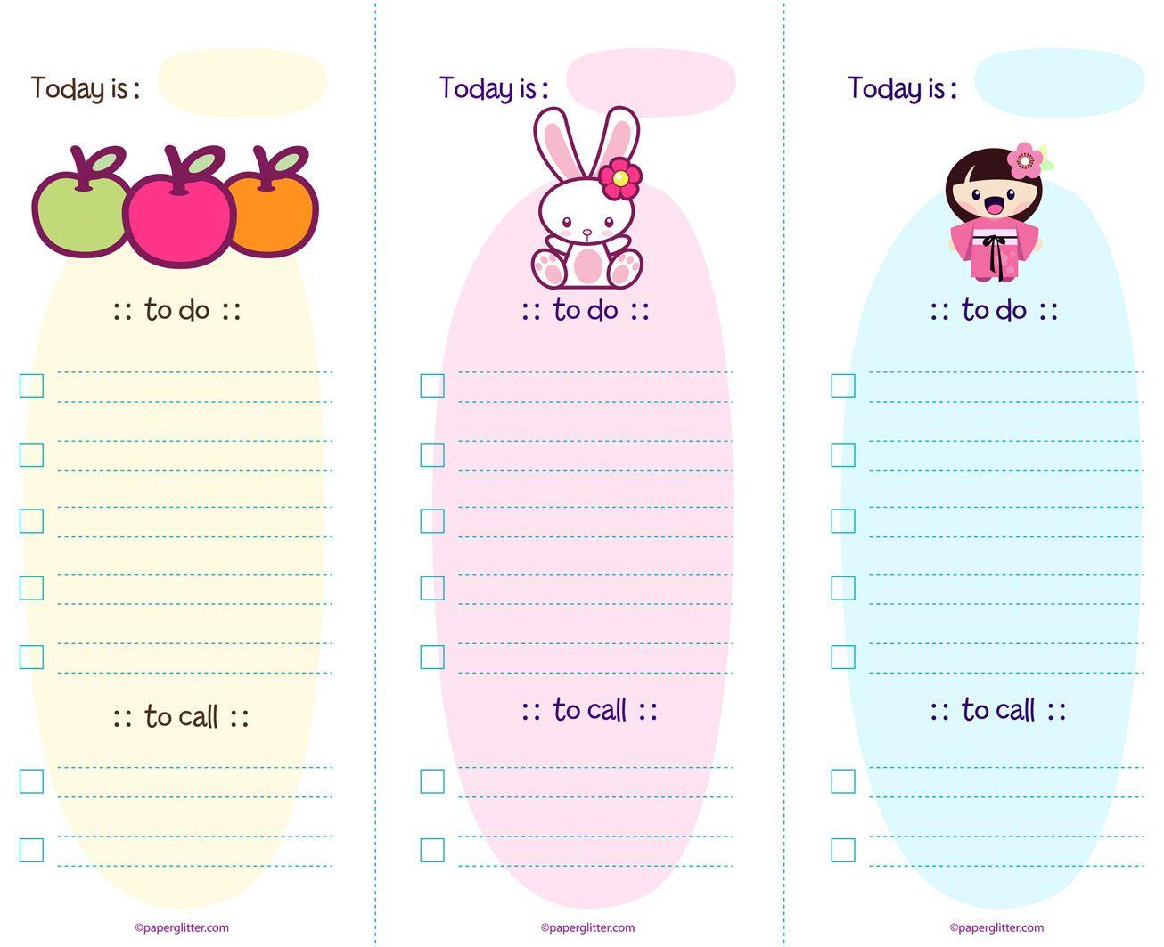 Free Kawaii To Do List Paper Glitter Kawaii Printables Planner Addicts Filofax Planners Cute to do list template