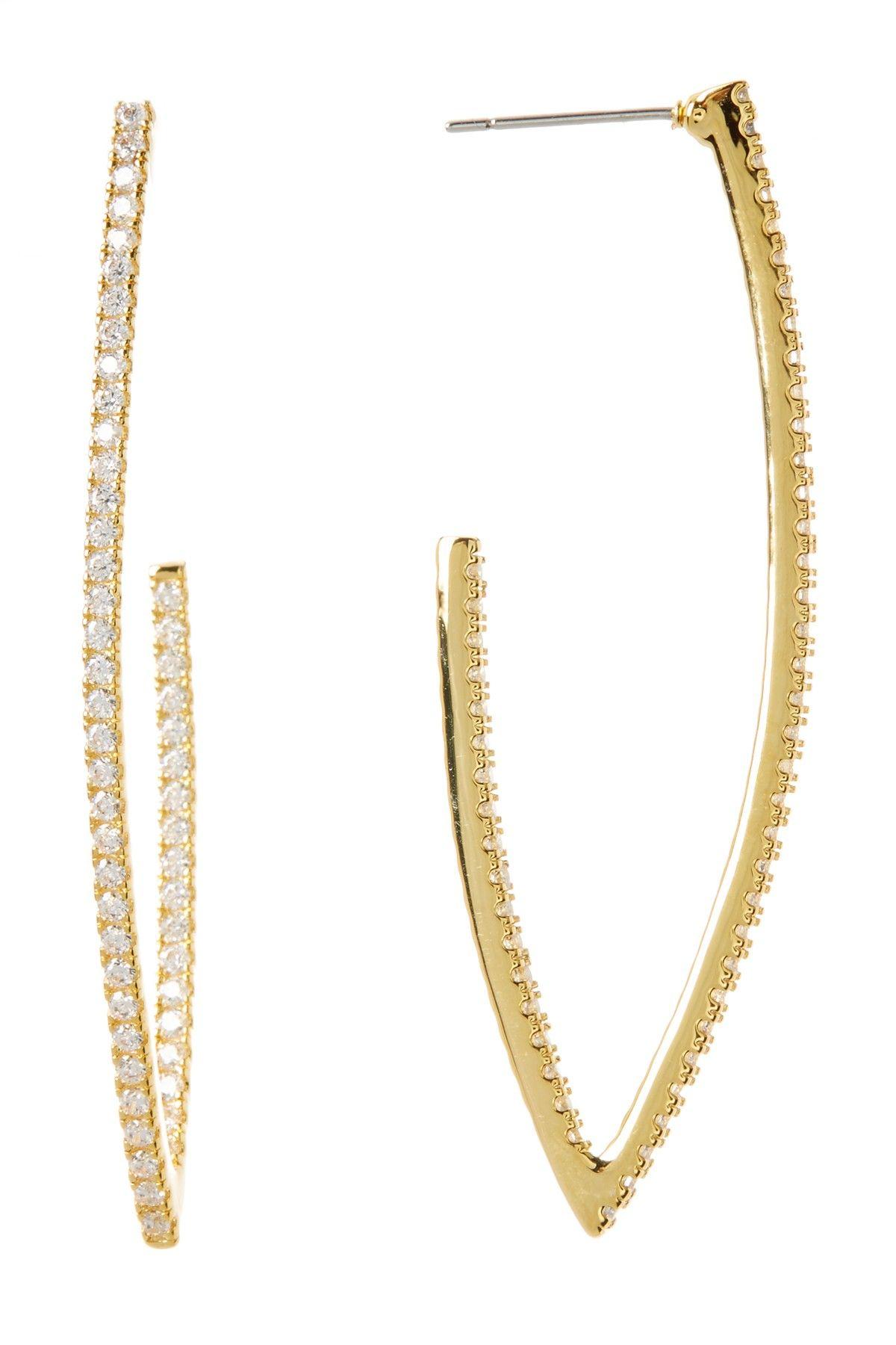Nordstrom Rack Cz Pave J Hoop Earrings