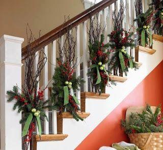 Pin De Margarita Rosado En Y Para Navidad Decoracion Navidena De Escaleras Decoracion Escaleras Navidad Escalera De Navidad