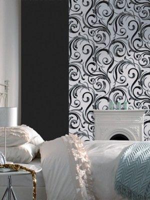 laurence llewelyn bowen wallpaper | Laurence Llewelyn-Bowen Flock Swurly Wurly Wallpaper - Black/Silver ...