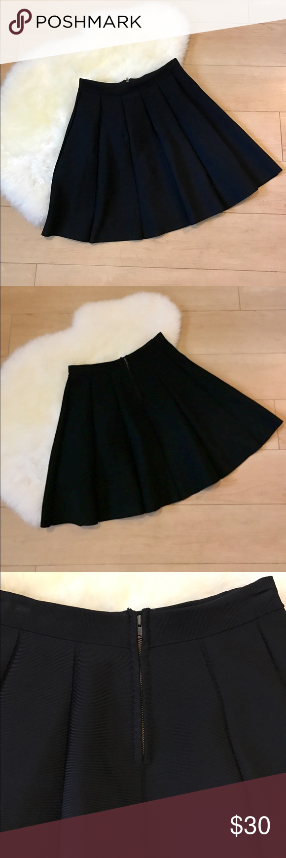 Parker Pleated Black Skirt ▪️Parker Pleated Black Skirt                                                 ▪️Women's Size Large                                                          ▪️Excellent Used Condition                                                  ▪️Zipper on back, classic Pleated style.                            ▪️63% Rayon, 37% Nylon Parker Skirts Midi