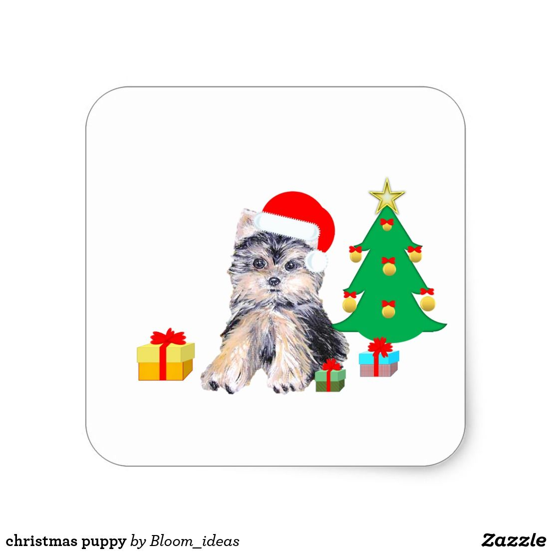 Christmas Tree Cute Yorkshire Puppy Dog Gifts Square Sticker Zazzle Com Dog Gifts Yorkshire Puppies Christmas Puppy