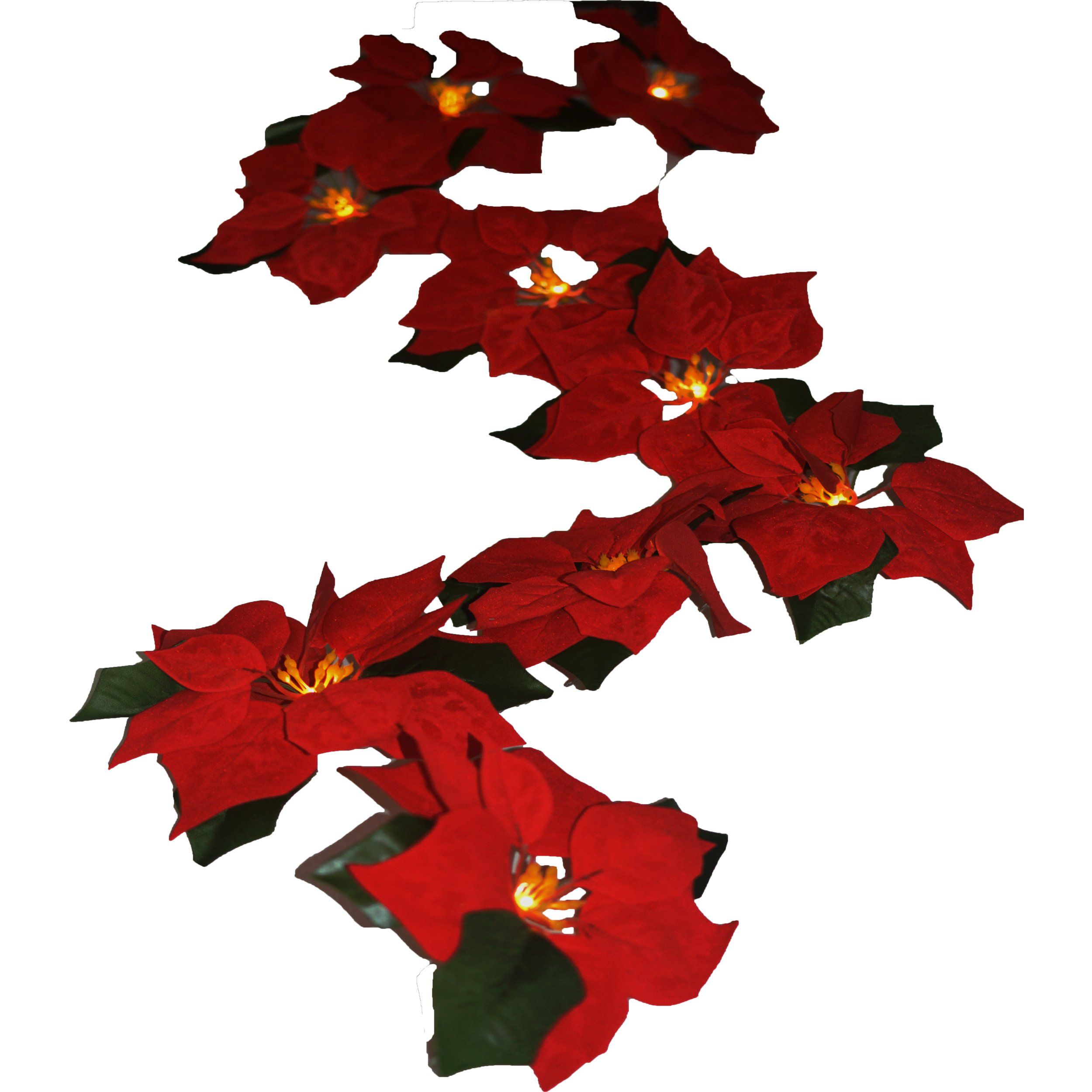 Fanstek 2aa Battery Led Lighted Red Poinsettia Garland With Holly