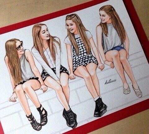 4 Friends Best Friend Drawings Drawings Of Friends Friends Sketch