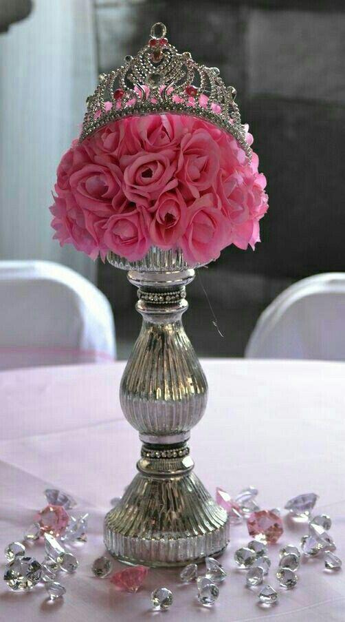 Centro De Mesa Arreglo Floral Dorado Blanco Y Rosa