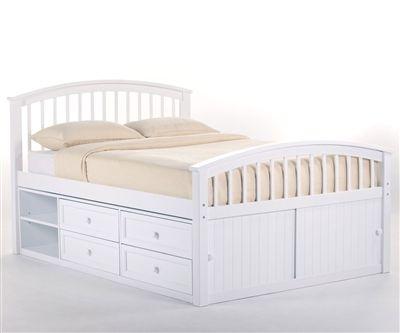 School House 7075 Whitefinish Full Size Captains Bed Ne Kids