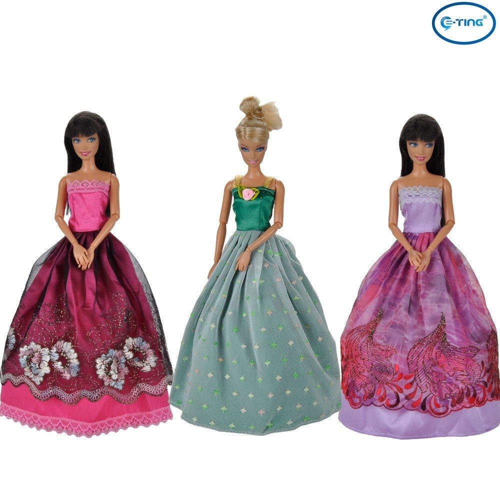 E-TING NEW STYLE Fashion 3 Pcs Handmade Dolls Clothes Evening Wedding Party Prom Dresses For Barbie Dolls - E-TING