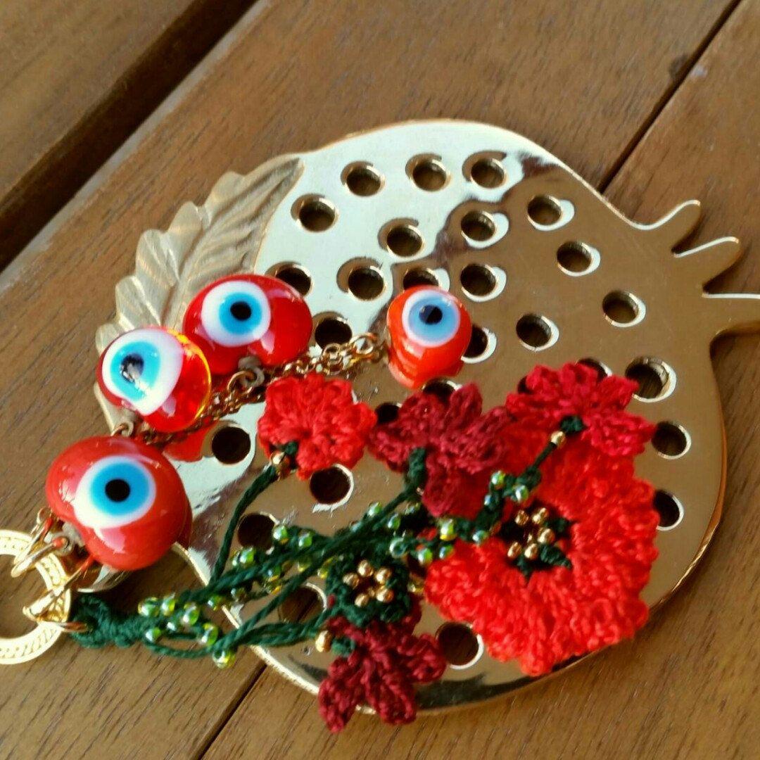 Gold Pomegranate Charm Evil Eye Beaded Tassel Home Decor - Door ...
