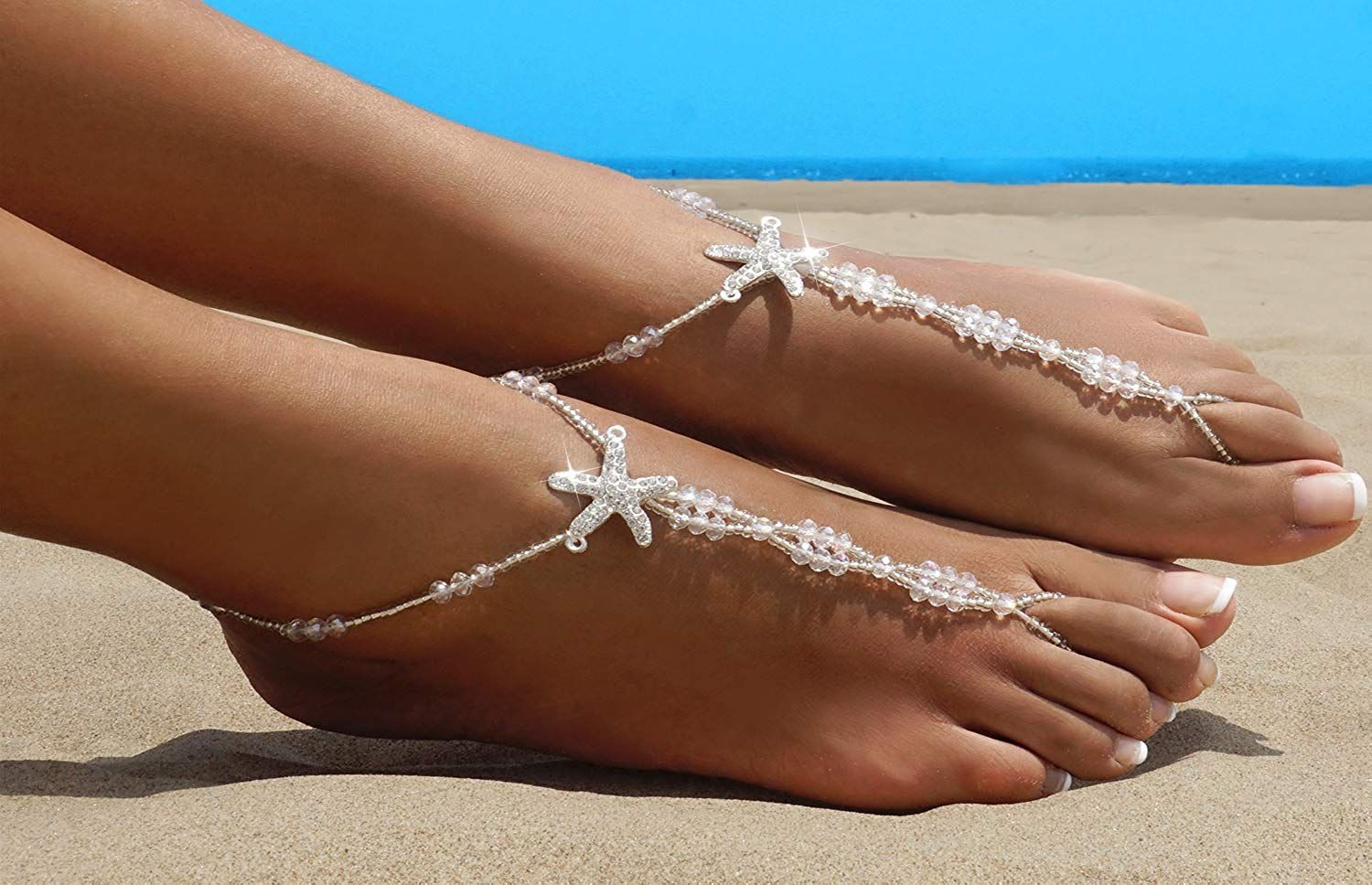 b8027e099 Bellady 2Pcs Pearl Ankle Chain Barefoot Sandals with Starfish Beach Wedding  Foot Jewelry 4.1 out of 5 stars 15 customer reviews Price   9.99