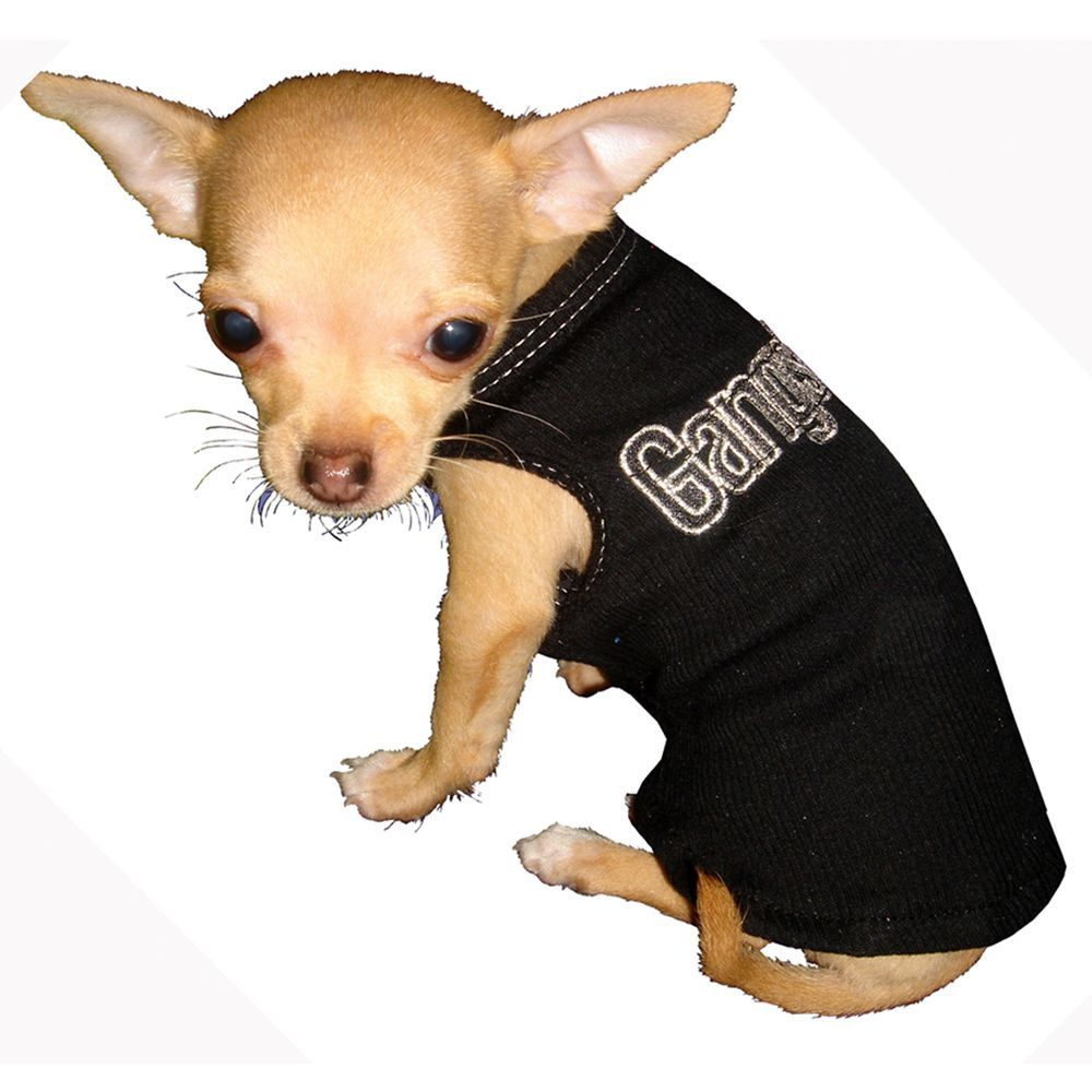 Hip Doggie Gangster Tank Top Size Small Black Pet Gear