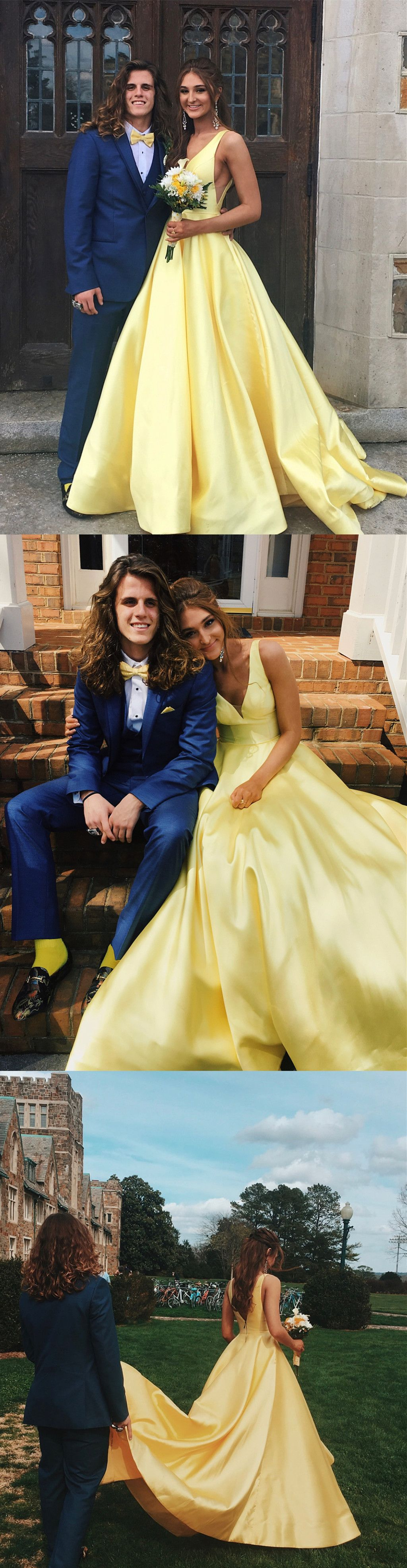 Princess v neck yellow long prom dress in grad pinterest