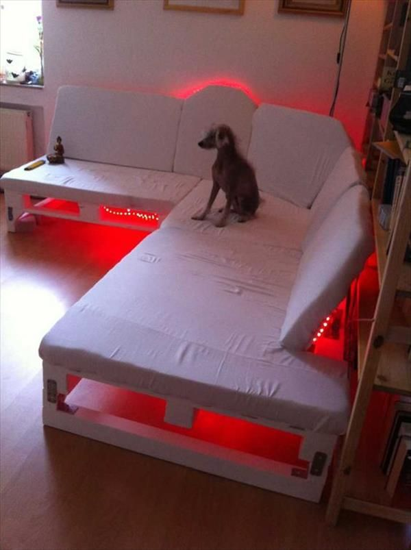 DIY Pallet Sofa With Lights | Recycled Pallet Ideas