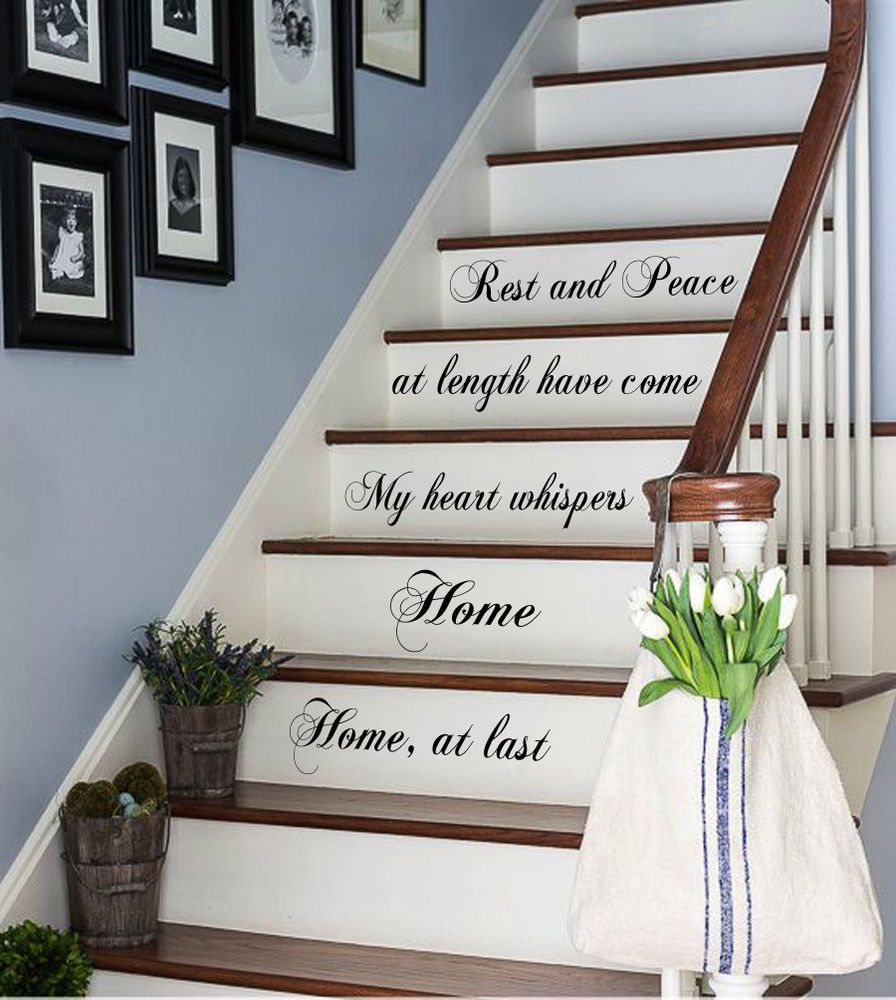 Wall Decals Family Vinyl Decal Sticker Quote Rest And Piece Stairs Decor  Kk784