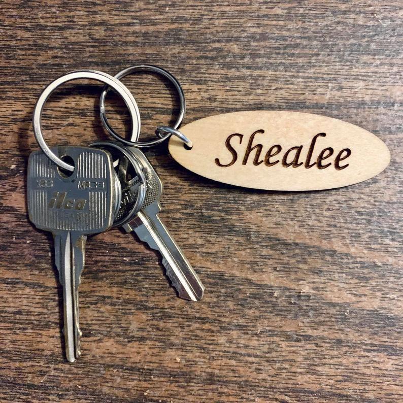 Custom Keychain Fifth Anniversary Wood Name Tag Etsy In 2020 Engraved Keychain Custom Keychain Keychain