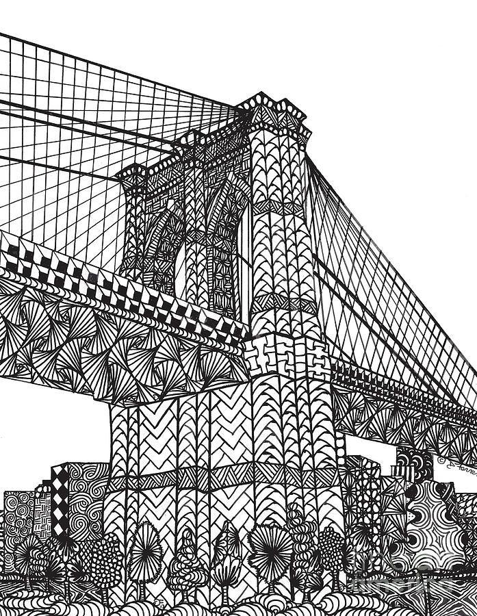 My Beloved Brooklyn Bridge By Dianne Ferrer In 2020 Zentangle