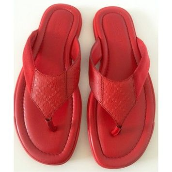 5574e5121e0c Red Men s Beach Flip Flop Thong Leather - Sandals