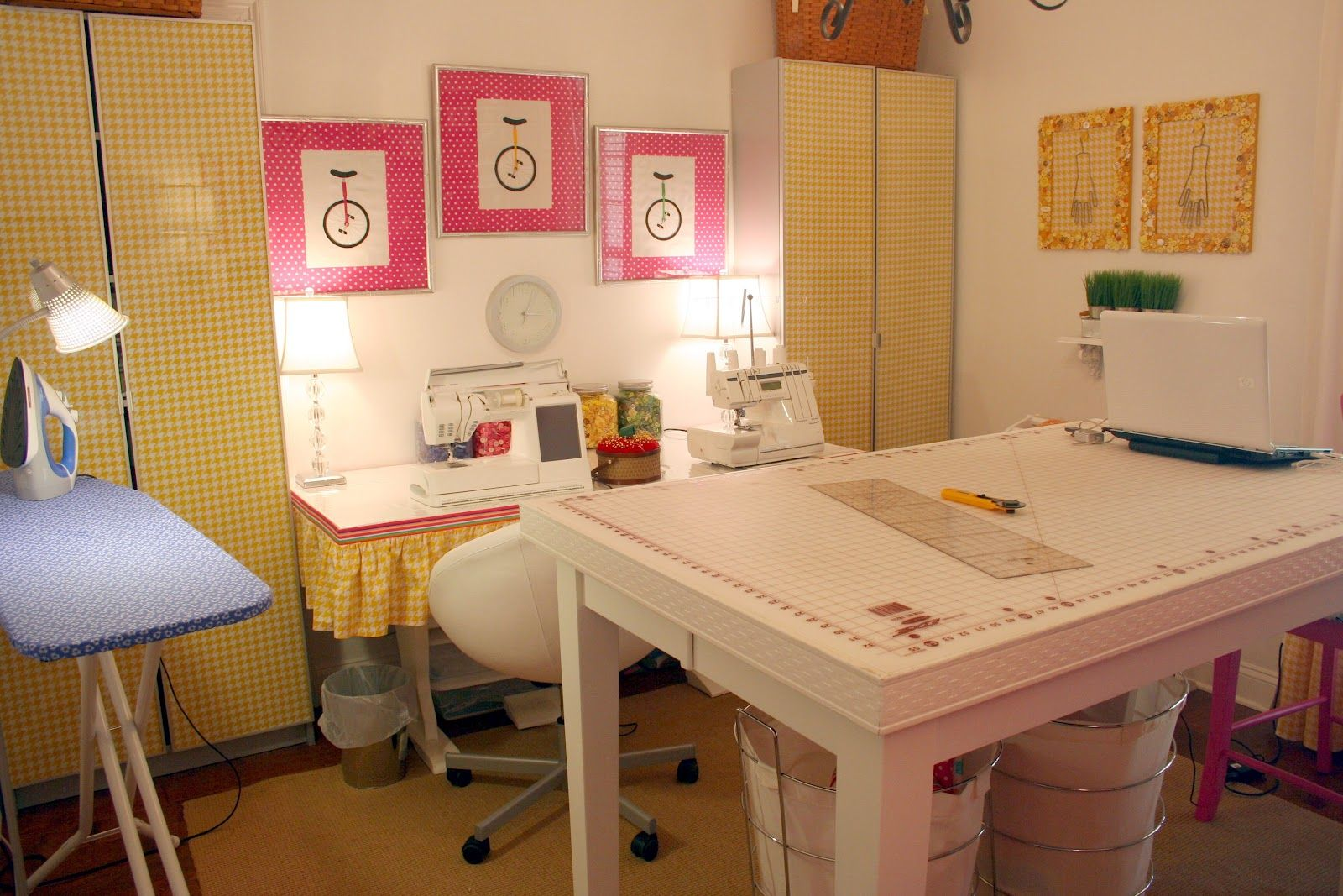 Fancy Sewing Room Decoration : Incredible Sewing Room Decorating Design  Ideas With Rectangular White Wood Sewing Table Including Blue Ironing Board