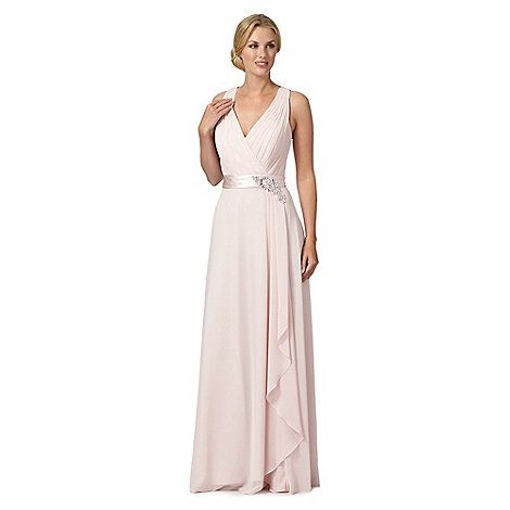 1 Jenny Packham Designer Lily Pale Pink Flower Detail Waterfall Maxi Dress At
