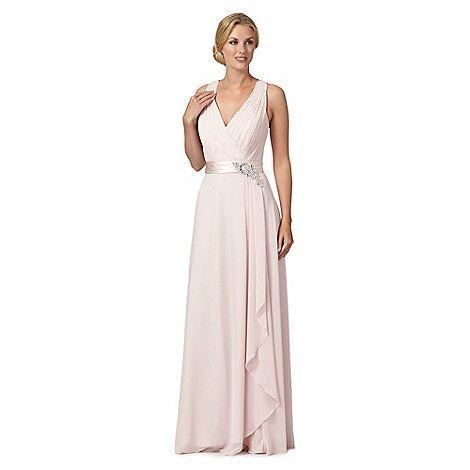 1 Jenny Packham Designer Lily Pale Pink Flower Detail Waterfall Evening Dress At Debenhams Mobile