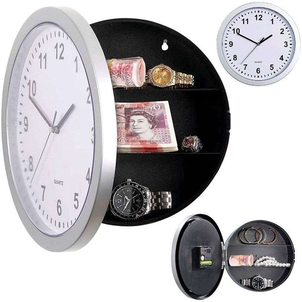 Wall Clock Hidden Secret Compartment Safe Money Stash Jewellery