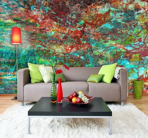 Abstract Murals Hand Painting in the Rilex Living Room