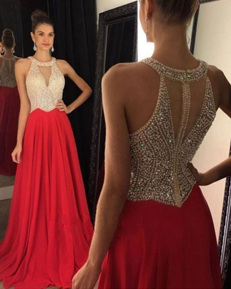 Nice red chiffon long evening dresses prom gowns party dress