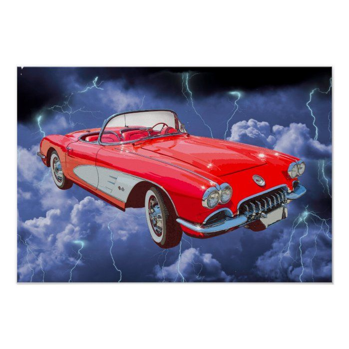 Red 1958 Corvette Convertible Poster – Custom Posters
