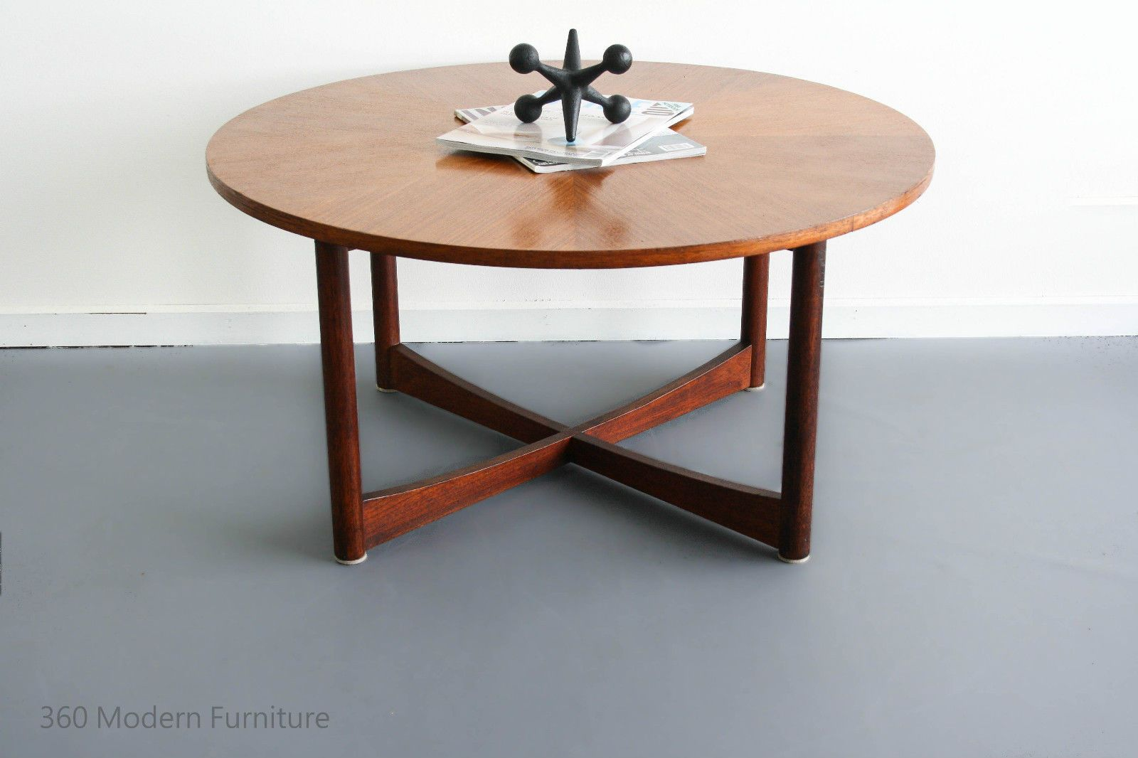 Retro light teak circular glass top coffee table nest of tables by - Mid Century Parker Coffee Table Teak Round Sundial Danish Retro Vintage Scandi In Home Garden Furniture Tables