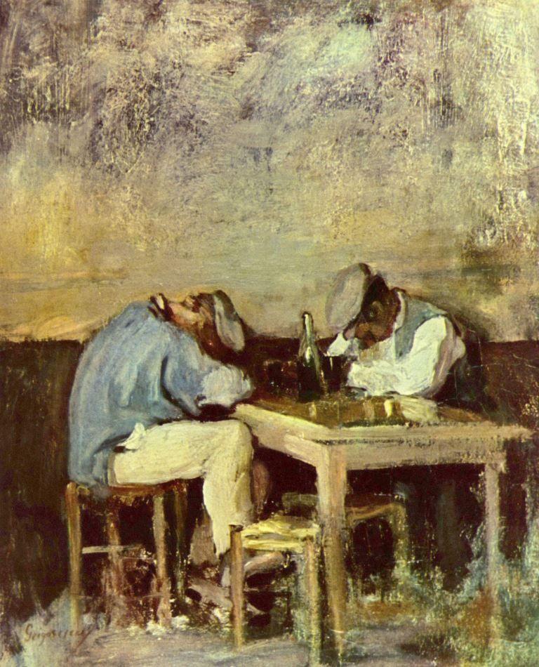 Nicolae Grigorescu.  Zwei Betrunkene. 2. Hälfte 19. Jh., Öl, 40,5 × 32,5 cm. Bukarest, Sammlung Onic Zambaccian. Genremalerei. Rumänien. Impressionismus.  KO 01685