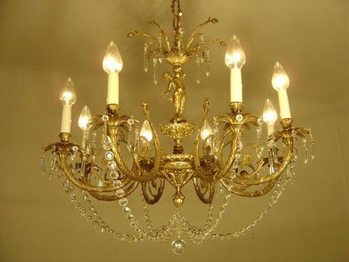 8-fl-luester-kronleuchter-gold-bronze-alte-lampe-grosse-putten-messing-antik.  EUR 655,00 0 Gebote
