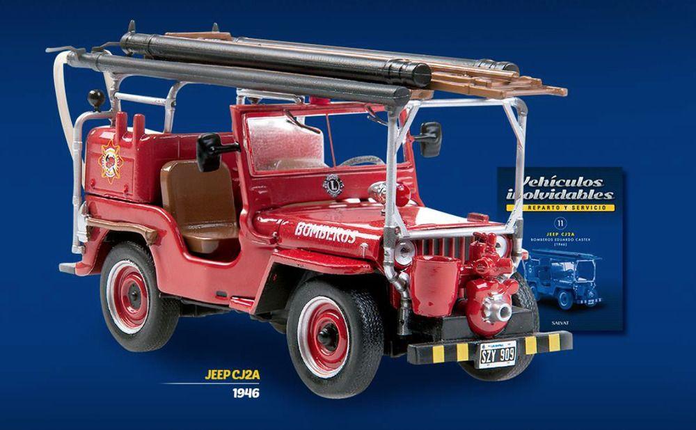 Jeep Cj2a 1946 Fire Truck Argentina Rare Diecast Scale 1 43 New Sealed Magazine Willys Jeep Jeep Fire Trucks