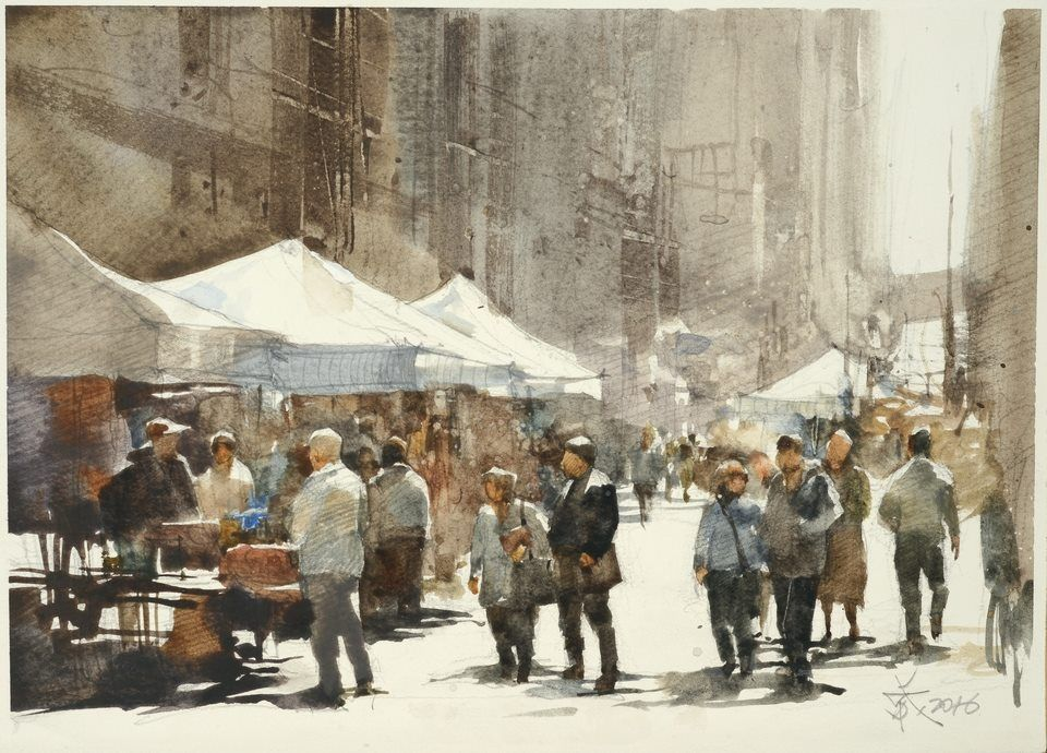 【The flea market / 跳蚤市場】 Sketch demo by Chien Chung Wei, 19 x 27 cm