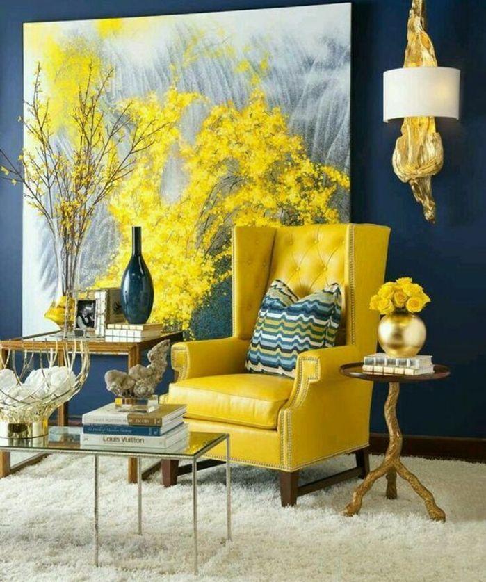 1001 id es cr er une d co en bleu et jaune conviviale - Couleur bleu gris fonce ...