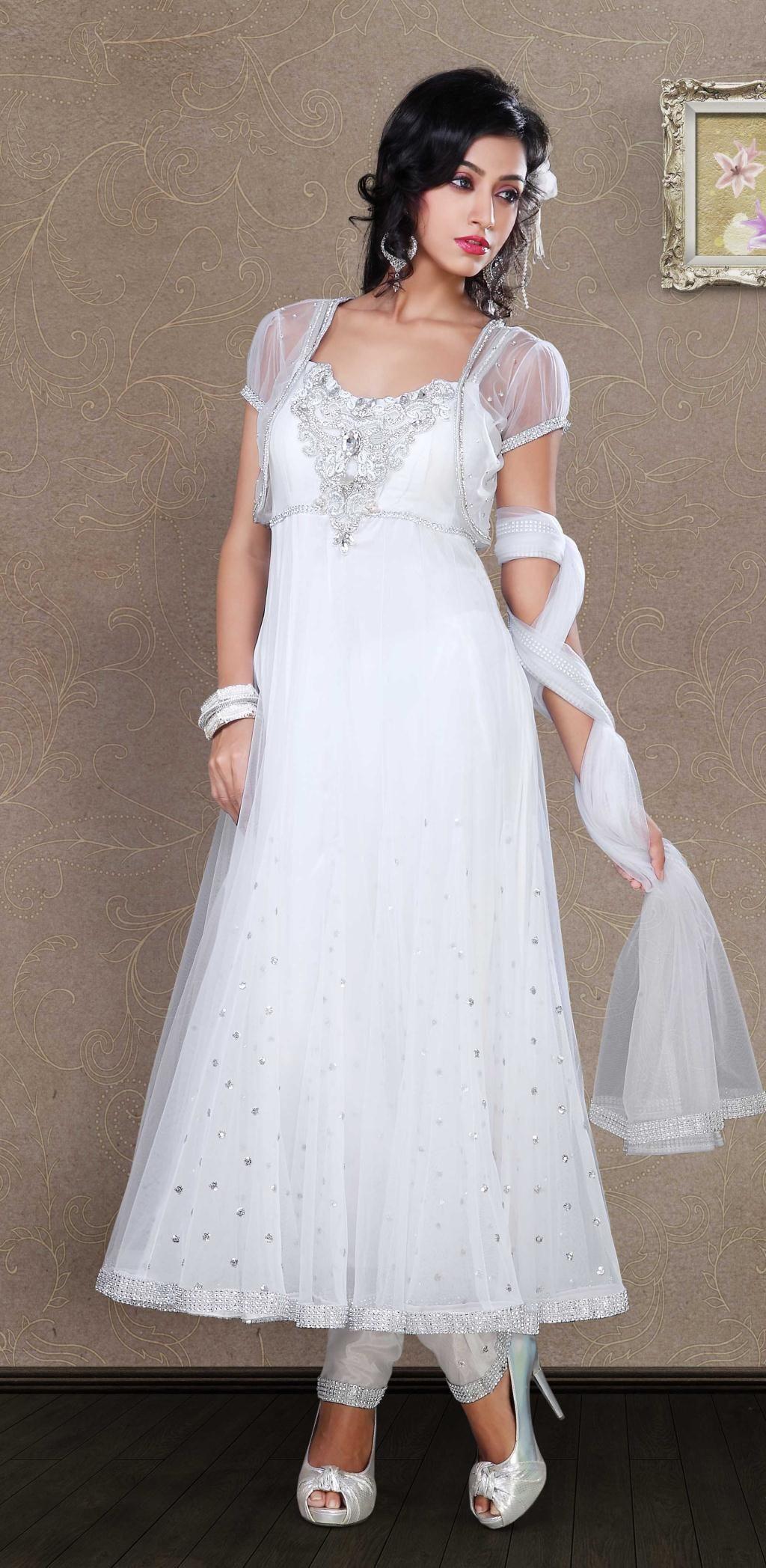 c0cb118a10 $158.34 White 3/4 Sleeve Net Long Anarkali Salwar Kameez 19834 ...