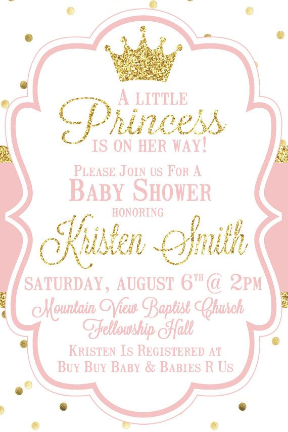 Little Princess Baby Shower Invitation, Pink and Gold, Baby Girl ...