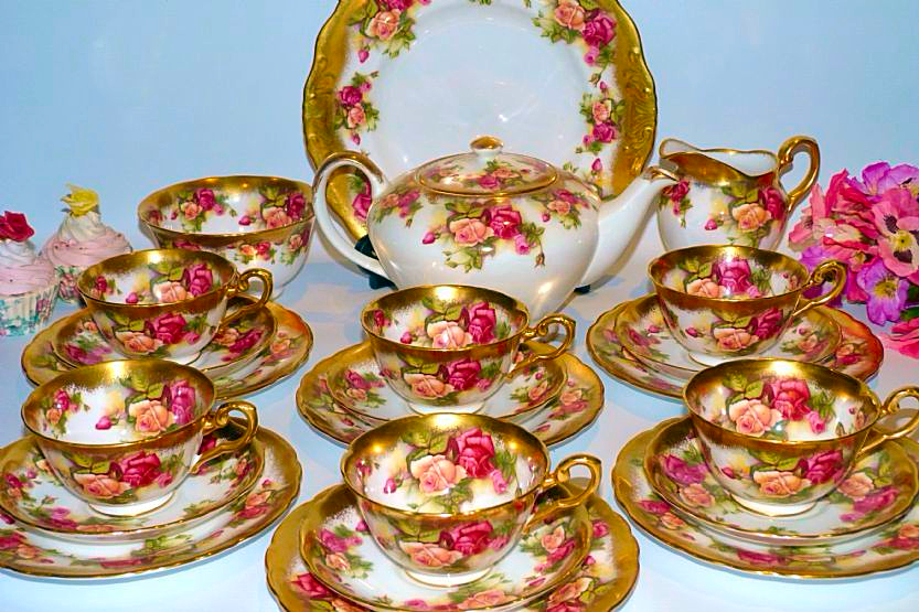 Royal Chelsea Golden Rose Tea Set For Six 3 10640 P Png 833 555 Tea Pots Vintage Tea Sets Vintage Fine China Tea Set