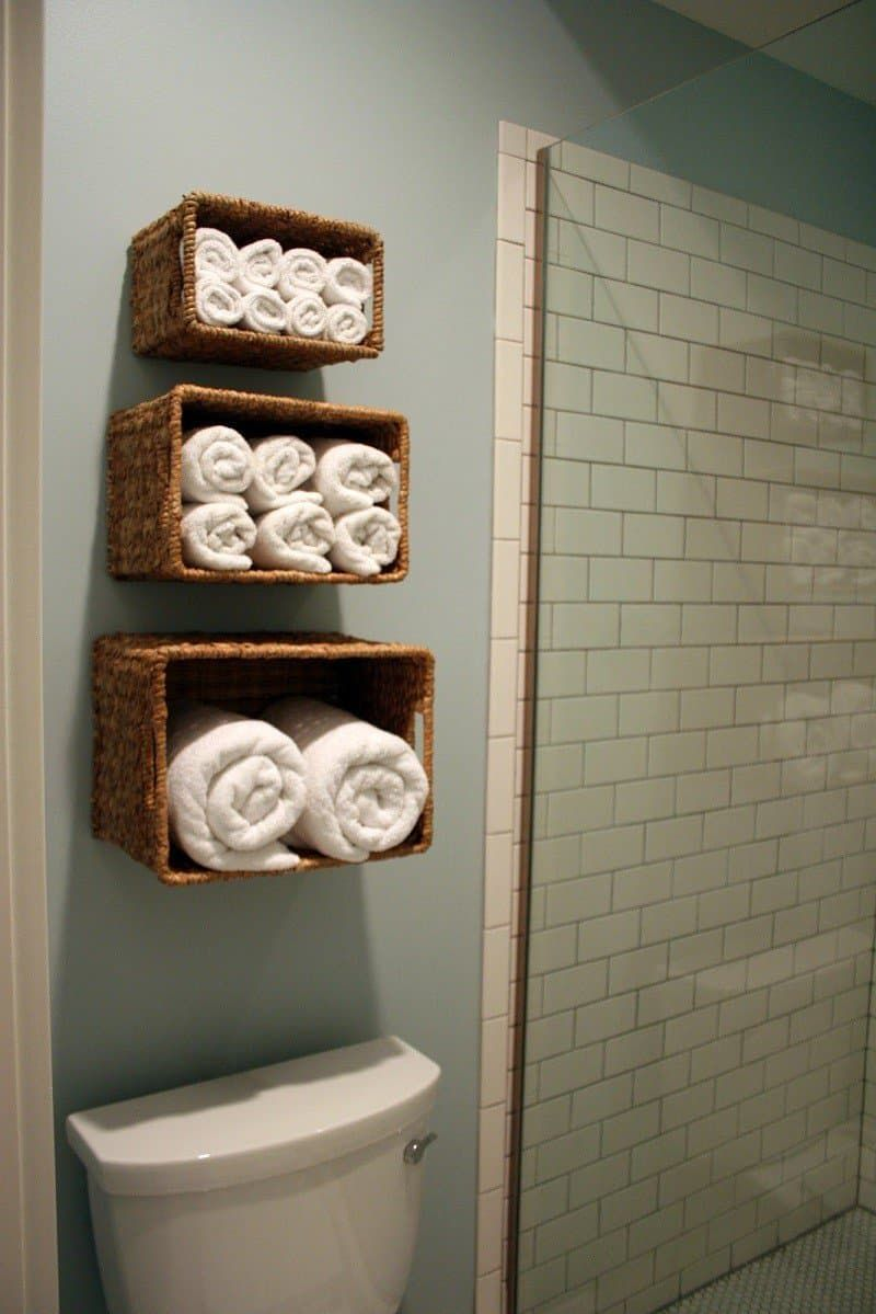 Bathroom Wall Towel Rack Wicker Basket Three Different Sizes Wall Mounted Towel Wicker Baskets Bathroom Towel Storage Diy Towel Rack Small Bathroom Decor