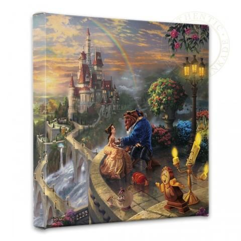 """Thomas Kinkade """"Beauty and the Beast Falling in Love"""" Size: 14 by 14 Canvas Giclee Prints - Art Center Gallery"""
