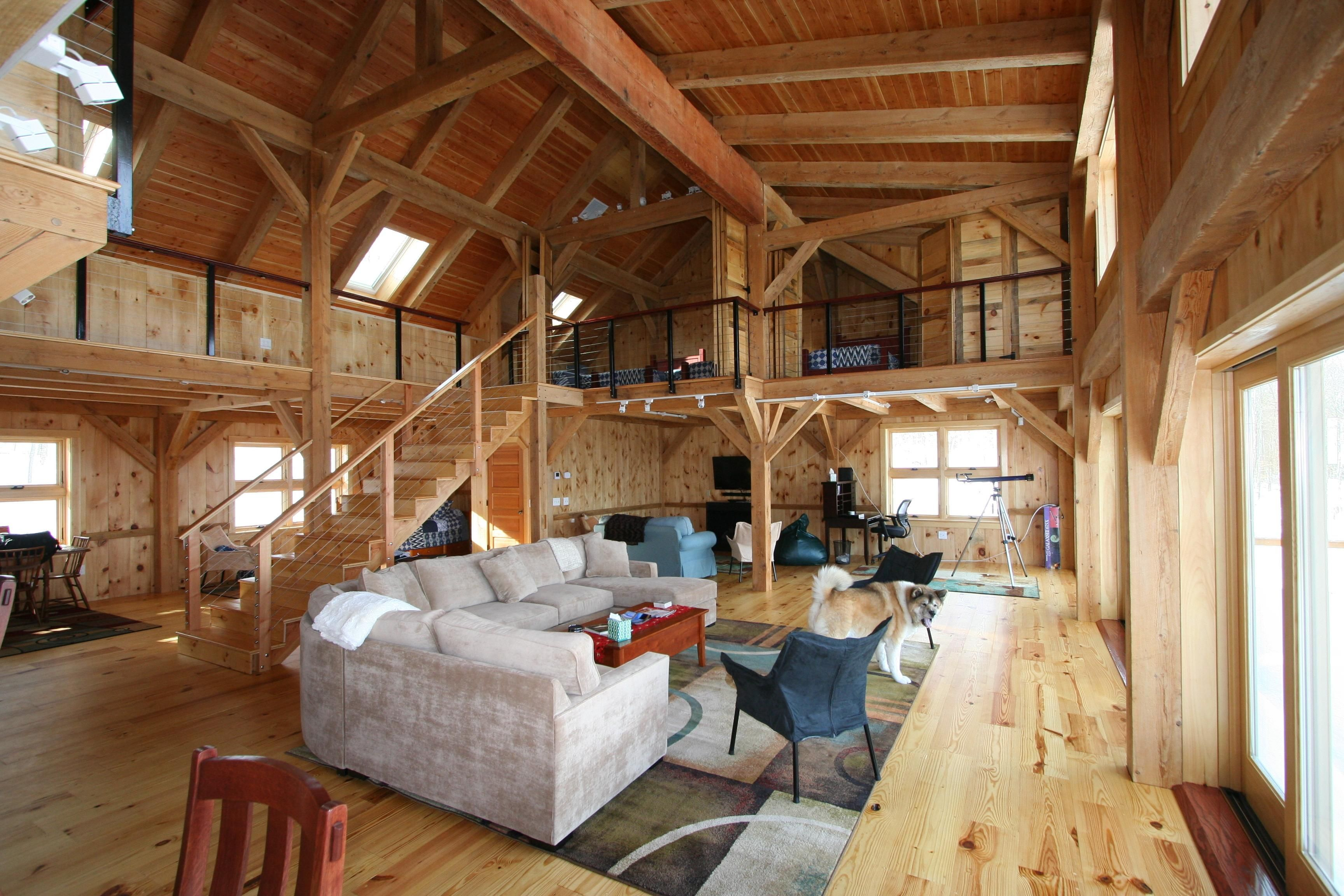 Image gallery inside barn homes for Pole barn house design