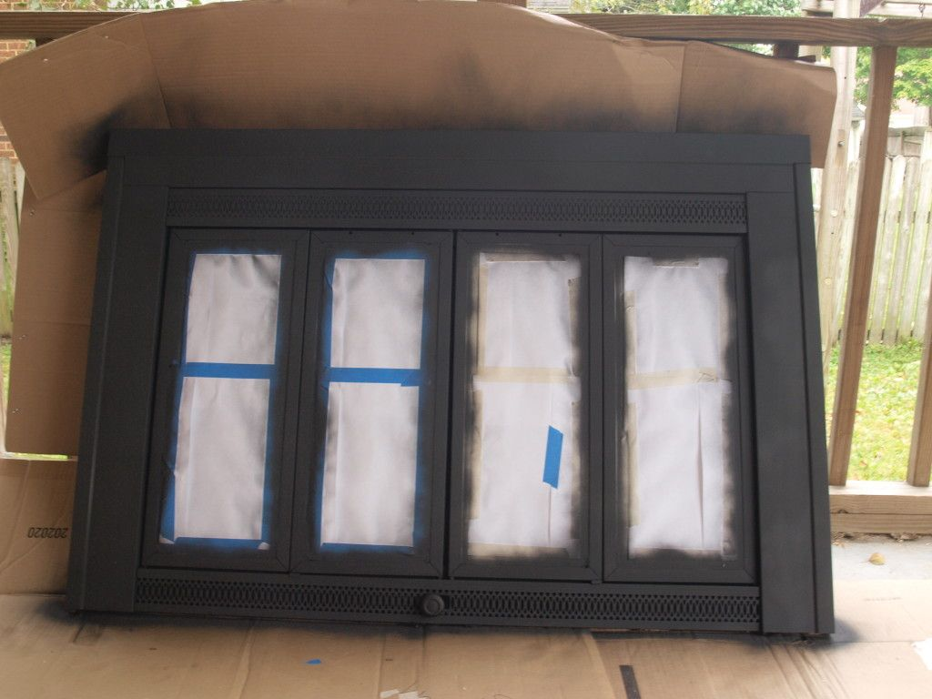 Painting Brass Black Fireplace Makeover Fireplace Doors Fireplace Remodel