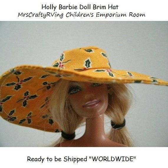 Christmas Holly Barbie Doll Beach Brim Hat by MrsCraftyRVing, $3.00 #handmade #Barbie #dollsclothes