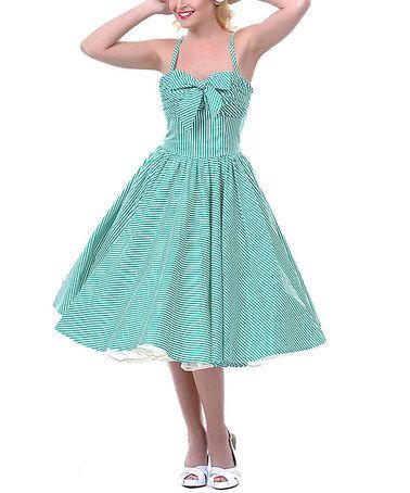 Look what I found on #zulily! Green Seeing Stripes Swing Dress - Women #zulilyfinds