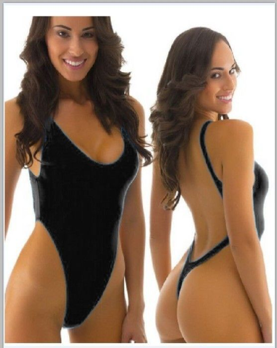 e0ae5711b0b18f Victorlynn Sexy Thong One Piece Backless Bodysuit High Cut Swimsuit -  Color: Black - Size: Large