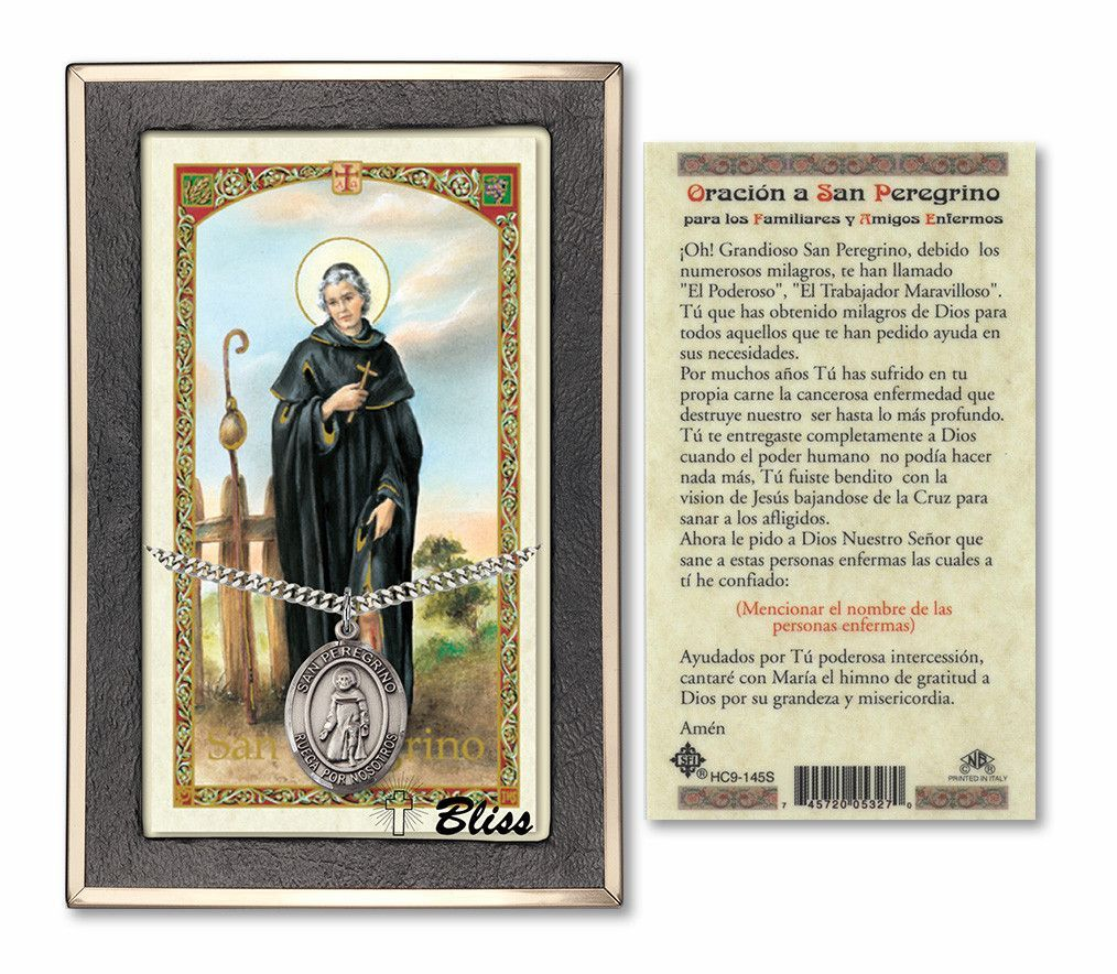 e872072a837 Bliss Catholic Patron Saint Prayer Card & Pendant Sets Spanish St Peregrine/ San Peregrino Patron Saint Pendant Holy Prayer Card Gift Set Hand-Crafted  Medal ...