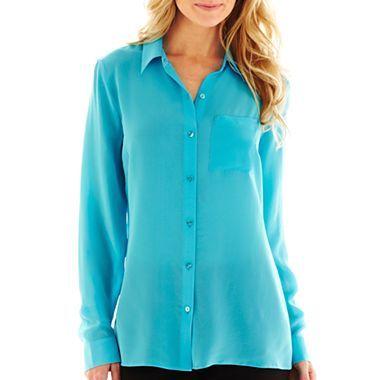 d72793048298e9 Worthington® Long-Sleeve 100% Silk Blouse - jcpenney | Stylin ...