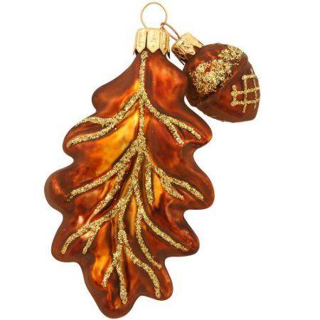 Oak Leaf With Acorn Glass Ornament | Glass ornaments ...