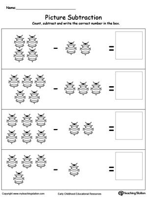 Beginning Subtraction Using Pictures | Pinterest | Vorschule und Mathe