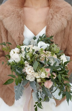 Brown fur bolero for this winter wedding #jacket #cold #winter   Photo by: Kate Price Photography on Grey Likes Weddings