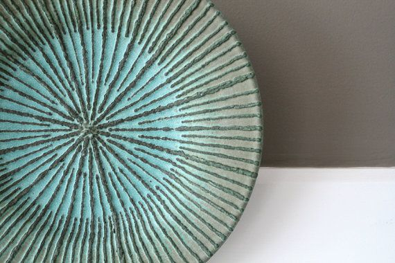 Hand-Thrown, Rustic, Turquoise Verdigris Stoneware Plate with Sliptrailed Starburst Design / COPPERFULL